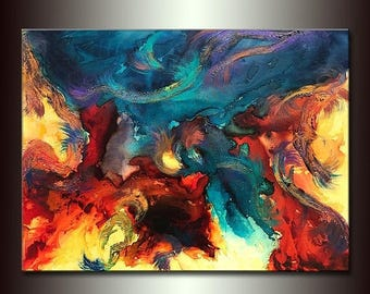 "Abstract Painting, Contemporary Art Painting by Henry Parsinia Ready to hang Enormous  48"" x 36"" original"