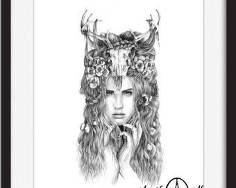 Begonia- Illustration- Deer- Antler- skull- Black and white- 8 X10 signed print- woman- portrait- fine art
