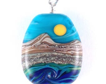 "Pendant ""To The Beach"" Handmade Lampwork Art Glass Bead Focal"
