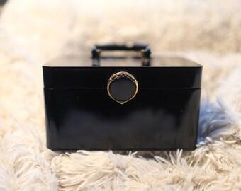 Vintage 1950s Black Box Purse