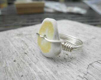 Yellow Pottery Ring Lake Erie Ohio size 8.5