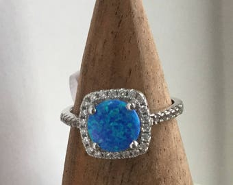 Australian Blue Opal In Square Cut Setting with CZ's in Sterling Size 7