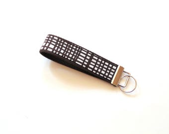 Fabric key fob wristlet, key chain, brown plaid, cotton fabric, key keeper, key fob, wrist lanyard, key holder, gift for her, gift under 10