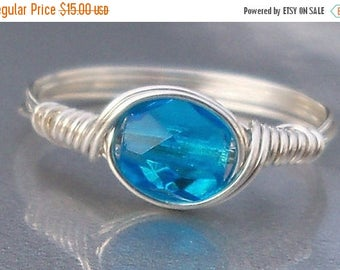25% Off Sale Light Aqua Czech Glass Argentium Sterling Silver Or 14k Gold Filled Wire Wrapped Ring