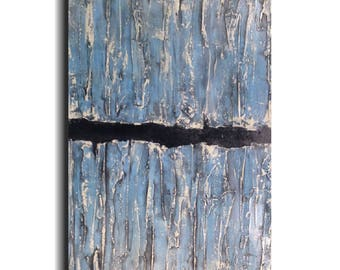 Large Industrial Art painting - 18 X 36- by Artist JMJartstudio- Reaching Up -Wall art- Blue painting- wall art