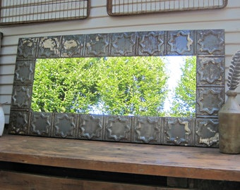 Tin ceiling Mirror, 2x4  Bathroom Mirror, Architectural salvage wall decor, Old weathered paint, Rustic, Shabby, French country decor