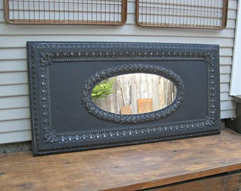 Antique Ceiling Tin Mirror. 4'x2' Large black mirror.  Architectural salvage.  Oval wall mirror.  Farmhouse mirror.