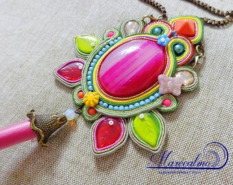 Rainbow boho necklace, bohemian necklace, soutache necklace, embroidered necklace, made in italy, multicolor gipsy pendant, colorful pendant