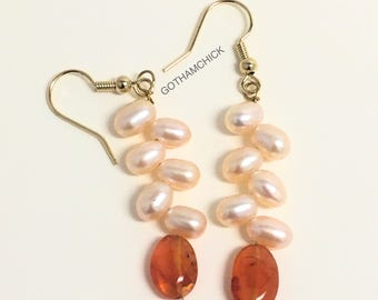 Bird of Paradise Freshwater Pearl and Carnelian Earrings