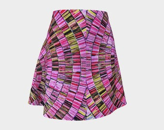 Bali Tile Art in Pink Flared Skirt style 1