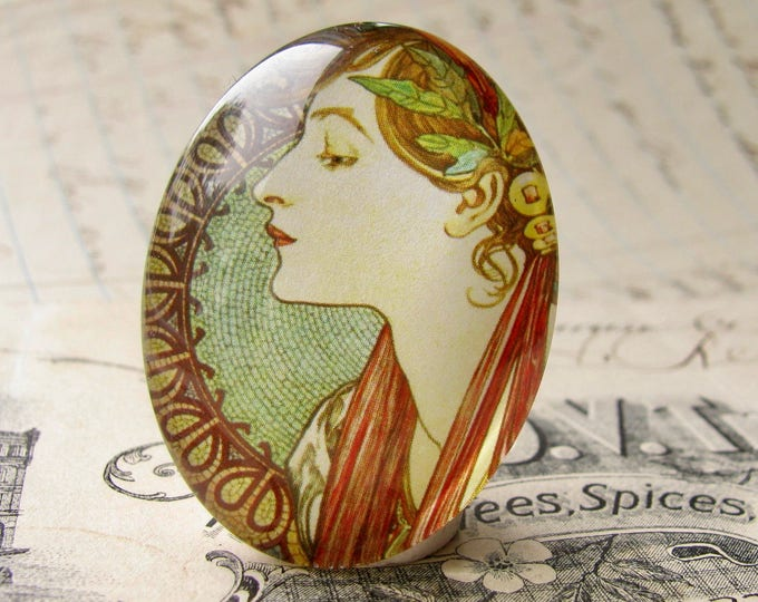 """From our Art Nouveau collection, Mucha's  """"Laurel"""" print, Le Laurier, handmade cabochon, 40x30 40x30mm, glass oval cabochon, green sage"""