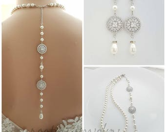 Bridal Back Drop Necklace, Pearl Back Necklace, Bridal Jewelry, Backdrop Necklace Earrings Set, Crystal Pearl Back Necklace, Adonia