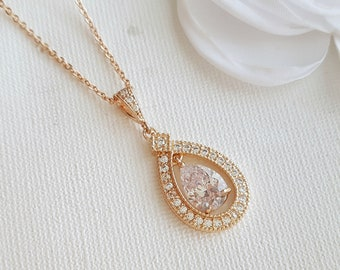 Rose Gold Bridal Necklace Wedding Jewelry Clear Cubic Zirconia Pendant Necklace Crystal Wedding Necklace Bridal Jewelry, Sarah