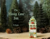RESERVED for Diana - The Fairy Inns of The Bewildering Pine - Mossy Lane Inn - N Scale - Chimney, Flower Boxes, Mossy Roof - Terrarium Decor