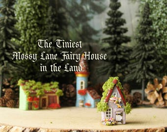 The Tiniest Fairy House in the Land - Mossy Lane Version - Hand-painted Polymer Clay Cottage - Flower Boxes, Wooden Door & Mossy Tiled Roof