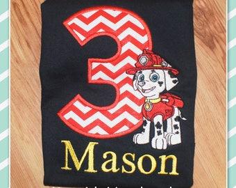 Embroidered Shirt - Birthday Shirt - Custom - Paw Patrol - Marshall - Fireman - Dog Fireman