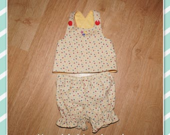 12 - 14 inch Baby Doll Clothes - Reversible Top and Pants - Cream with Hearts, Stars and Moons - Yellow or Blue Reversible