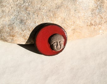 red Bouddha cab for ring or necklace creation