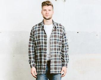 Plaid Corduroy Shirt . Mens Vintage Shirt Patterned Shirt Casual Cord Men's 80s Unisex Shirt Boyfriend Gift . size Large
