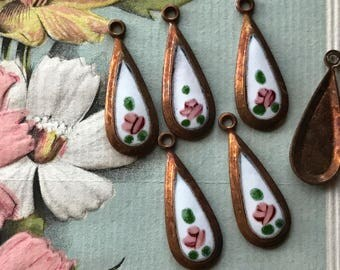 4 Vintage Guilloche Charms, Teardrop charms, Enamel charms, hand painted rose, Victorian charms, vintage adornments NOS, Copper Charms, #22F