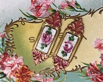 Vintage Guilloche Cabochons, Enamel findings, Vintage Findings, victorian Rose, Enameled Cabochons, Square NOS Rose Floral Cloisonné #1337J