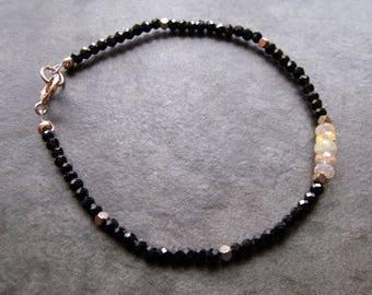 Ethiopian Opal and Black Spinel Rose Gold Sterling Silver Dainty Stacking Bracelet Opal Gemstone Bracelet