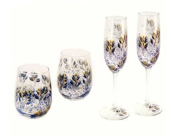 Hand-Painted Wine Glass Gift Set - Stemless + Stemmed Wine Glasses - Blue and Gold, Midnight Navy Blue and Gold Roses Set of 4, Personalized