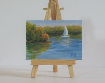 Aceo, sailboat painting, original acrylic, autumn,