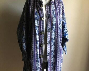 SALE Rare 70s Cotton Free Size IKAT Jacket
