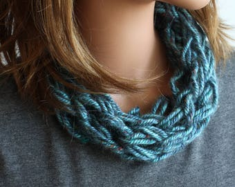 Knitted Neck Cowl - Chunky Neck Cowl - Arm Knitted Scarf - Chunky Scarf - Winter Knitted Scarf - Infinity Scarf - Thick Warm Scarf