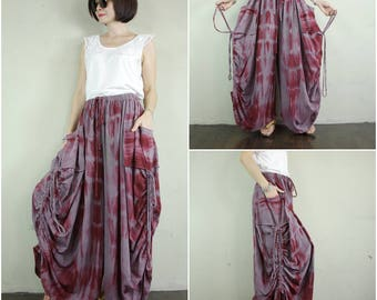 Love Me..Love Me Not IV - Steampunk Boho Funky Tie Dyed Burgundy & Gray  Cotton Wide Leg Pants With 2 Roomy Pockets