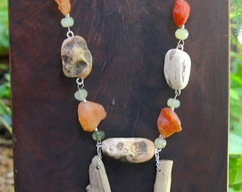 Sunrise on the Beach: Driftwood Necklace w Raw Carnelian Nuggets and Faceted Jade Rondelles Natural Driftwood Beads Rustic Ocean Jewelry