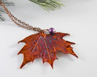 Copper Dipped Maple Leaf Pendant Necklace, 36 inch long chain