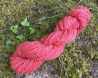 Handspun Hand Dyed Cornish Ryeland Yarn in Salmon for Knitting, Crochet or Weaving, British Wool, Hand spun Yarn UK