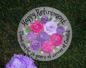 RETIREMENT GIFT, Years Of Service, Hand Painted Garden Stone, Retirement  Gifts, Teacher