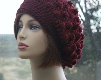 Crochet Slouchy Hat Beanie Womens Winter Hat Slouchy Hat Bobble Style  Beanie  Handmade Hand Knit Hat Winter Burgundy