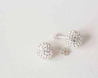 Stud earrings,Sterling silver stud earrings, Sterling silver crystal studs, crystal studs, Pave stud earrings, sterling silver earrings,Stud