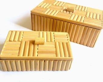 Bamboo Wood Trinket Boxes, Vintage Handmade Trinket Boxes, Folk Art Keepsake Boxes, Folk Art Box Set, 2 Vintage Folk Art Boxes, Bamboo Boxes