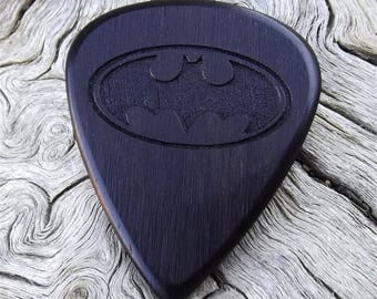 Wood Guitar Pick - Premium Quality - Handmade From African Blackwood - Laser Engraved On Each Side - Actual Pick Shown -Artisan Guitar Pick