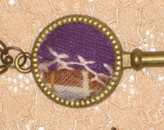 Quilt Key Necklace OOAK Gift For Her With Gift Box Quilters Gift Textile Art Jewelry Feather Stitching Crazy Quilt Purple