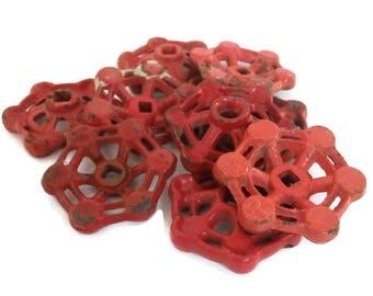 Faucet Handles Industrial Decor. Assorted Red Color Metal Hardware. Nine Industrial Salvage Handle Knobs. 9 Spigot Turn Valve Knobs