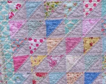 Sweet Serenity Lap Quilt - Patchwork Triangles Pastels
