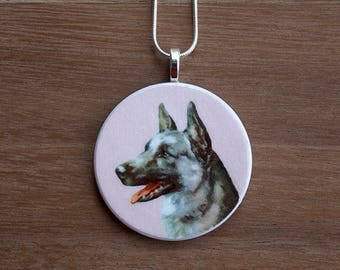 German Shepherd Pendant Necklace, German Shepherd Necklace, Shepherd Jewelry, Handcrafted Jewelry, Gift for Dog Lovers, Free Shipping in US