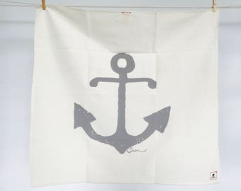 Gray Anchor Tea Towel - READY TO SHIP