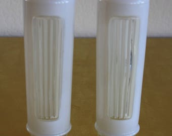 Vtg Pair Glass Globes Shades Tubular Cylinder for Light Fixture Bathroom Bedroom