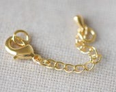 10pcs Gold Lobster Claw Clasps with Extender Chain 50mm, Extension Chain with Jump Rings, Gold plated Brass, Lead Free (LK-100)