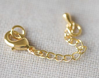 10pcs Gold Lobster Claw Clasps with Extender Chain 50mm, Extension Chain with Jump Rings, Gold plated Brass, Lead Free (GB-100)