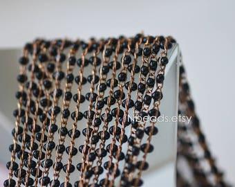 Black Enamel Brass Chain 2.5mm Thin, Unplated Brass Designer Chains (#RB-050)/ 1 Meter=3.3ft