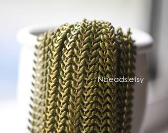 Enamel Brass Arrow Chain 6mm, Flat Chevron Chain, Herringbone Fish bone Designer Chain, Olive Green Olivine (#RB-048-3)/ 1 Meter=3.3ft