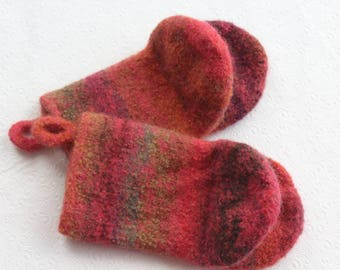 Papaya Orange Knit Felted Wool Oven Mitt Set, Coral Red, Purple Knit Felted Oven Mitts Wool Oven Glove Set, Hostess Gifts, Chef Kitchen Gift